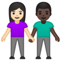Woman and Man Holding Hands: Light Skin Tone, Dark Skin Tone on Google Android 10.0 March 2020 Feature Drop