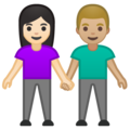Woman and Man Holding Hands: Light Skin Tone, Medium-Light Skin Tone on Google Android 10.0 March 2020 Feature Drop