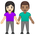 Woman and Man Holding Hands: Light Skin Tone, Medium Skin Tone on Google Android 10.0 March 2020 Feature Drop