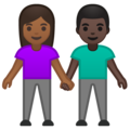 Woman and Man Holding Hands: Medium-Dark Skin Tone, Dark Skin Tone on Google Android 10.0 March 2020 Feature Drop