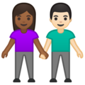 Woman and Man Holding Hands: Medium-Dark Skin Tone, Light Skin Tone on Google Android 10.0 March 2020 Feature Drop