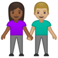 Woman and Man Holding Hands: Medium-Dark Skin Tone, Medium-Light Skin Tone on Google Android 10.0 March 2020 Feature Drop