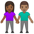 Woman and Man Holding Hands: Medium-Dark Skin Tone, Medium Skin Tone on Google Android 10.0 March 2020 Feature Drop