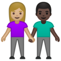Woman and Man Holding Hands: Medium-Light Skin Tone, Dark Skin Tone on Google Android 10.0 March 2020 Feature Drop
