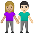 Woman and Man Holding Hands: Medium-Light Skin Tone, Light Skin Tone on Google Android 10.0 March 2020 Feature Drop
