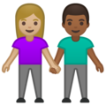 Woman and Man Holding Hands: Medium-Light Skin Tone, Medium-Dark Skin Tone on Google Android 10.0 March 2020 Feature Drop