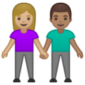 Woman and Man Holding Hands: Medium-Light Skin Tone, Medium Skin Tone on Google Android 10.0 March 2020 Feature Drop