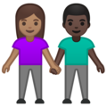 Woman and Man Holding Hands: Medium Skin Tone, Dark Skin Tone on Google Android 10.0 March 2020 Feature Drop