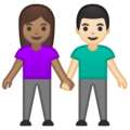 Woman and Man Holding Hands: Medium Skin Tone, Light Skin Tone on Google Android 10.0 March 2020 Feature Drop