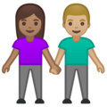Woman and Man Holding Hands: Medium Skin Tone, Medium-Light Skin Tone on Google Android 10.0 March 2020 Feature Drop