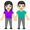 Woman and Man Holding Hands: Light Skin Tone on Google Android 10.0 March 2020 Feature Drop