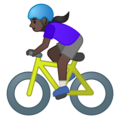 Woman Biking: Dark Skin Tone on Google Android 10.0 March 2020 Feature Drop
