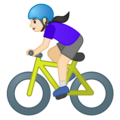 Woman Biking: Light Skin Tone on Google Android 10.0 March 2020 Feature Drop