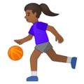 Woman Bouncing Ball: Medium-Dark Skin Tone on Google Android 10.0 March 2020 Feature Drop