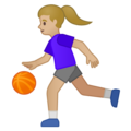 Woman Bouncing Ball: Medium-Light Skin Tone on Google Android 10.0 March 2020 Feature Drop
