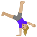 Woman Cartwheeling: Medium-Light Skin Tone on Google Android 10.0 March 2020 Feature Drop