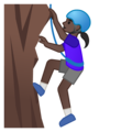 Woman Climbing: Dark Skin Tone on Google Android 10.0 March 2020 Feature Drop