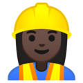 Woman Construction Worker: Dark Skin Tone on Google Android 10.0 March 2020 Feature Drop