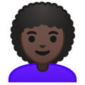 Woman: Dark Skin Tone, Curly Hair on Google Android 10.0 March 2020 Feature Drop