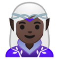Woman Elf: Dark Skin Tone on Google Android 10.0 March 2020 Feature Drop