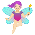 Woman Fairy: Light Skin Tone on Google Android 10.0 March 2020 Feature Drop