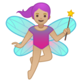 Woman Fairy: Medium-Light Skin Tone on Google Android 10.0 March 2020 Feature Drop