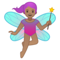 Woman Fairy: Medium Skin Tone on Google Android 10.0 March 2020 Feature Drop