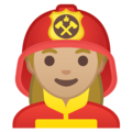 Woman Firefighter: Medium-Light Skin Tone on Google Android 10.0 March 2020 Feature Drop
