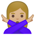 Woman Gesturing No: Medium-Light Skin Tone on Google Android 10.0 March 2020 Feature Drop