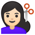 Woman Getting Haircut: Light Skin Tone on Google Android 10.0 March 2020 Feature Drop