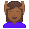 Woman Getting Massage: Medium-Dark Skin Tone on Google Android 10.0 March 2020 Feature Drop