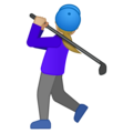 Woman Golfing: Medium-Light Skin Tone on Google Android 10.0 March 2020 Feature Drop