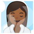 Woman in Steamy Room: Medium-Dark Skin Tone on Google Android 10.0 March 2020 Feature Drop