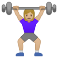Woman Lifting Weights: Medium-Light Skin Tone on Google Android 10.0 March 2020 Feature Drop