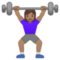 Woman Lifting Weights: Medium Skin Tone on Google Android 10.0 March 2020 Feature Drop