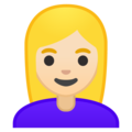 Woman: Light Skin Tone, Blond Hair on Google Android 10.0 March 2020 Feature Drop