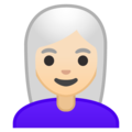 Woman: Light Skin Tone, White Hair on Google Android 10.0 March 2020 Feature Drop