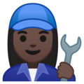 Woman Mechanic: Dark Skin Tone on Google Android 10.0 March 2020 Feature Drop