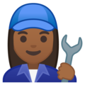 Woman Mechanic: Medium-Dark Skin Tone on Google Android 10.0 March 2020 Feature Drop