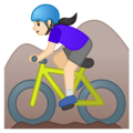 Woman Mountain Biking: Light Skin Tone on Google Android 10.0 March 2020 Feature Drop
