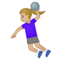 Woman Playing Handball: Medium-Light Skin Tone on Google Android 10.0 March 2020 Feature Drop