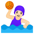 Woman Playing Water Polo: Light Skin Tone on Google Android 10.0 March 2020 Feature Drop