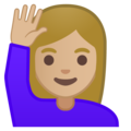 Woman Raising Hand: Medium-Light Skin Tone on Google Android 10.0 March 2020 Feature Drop