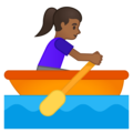 Woman Rowing Boat: Medium-Dark Skin Tone on Google Android 10.0 March 2020 Feature Drop