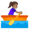 Woman Rowing Boat: Medium Skin Tone on Google Android 10.0 March 2020 Feature Drop