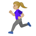 Woman Running: Medium-Light Skin Tone on Google Android 10.0 March 2020 Feature Drop