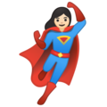 Woman Superhero: Light Skin Tone on Google Android 10.0 March 2020 Feature Drop