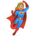 Woman Superhero: Medium-Light Skin Tone on Google Android 10.0 March 2020 Feature Drop