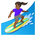 Woman Surfing: Medium-Dark Skin Tone on Google Android 10.0 March 2020 Feature Drop
