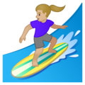 Woman Surfing: Medium-Light Skin Tone on Google Android 10.0 March 2020 Feature Drop